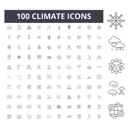 Iconos de línea climática, signos, conjunto de vectores, ilustración del concepto de esquema