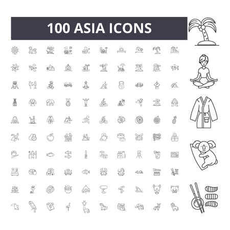 Asia line icons, signs, vector set, outline concept illustration Vectores