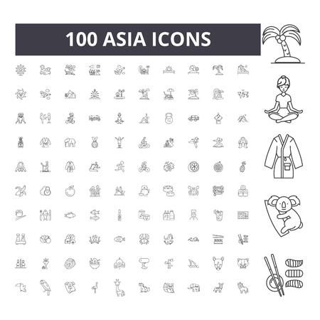Icônes de ligne d'Asie, signes, ensemble de vecteurs, illustration de concept de contour Vecteurs
