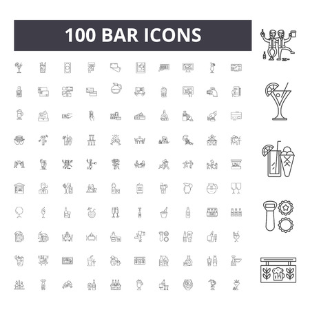 Bar line icons, signs, vector set, outline concept illustration