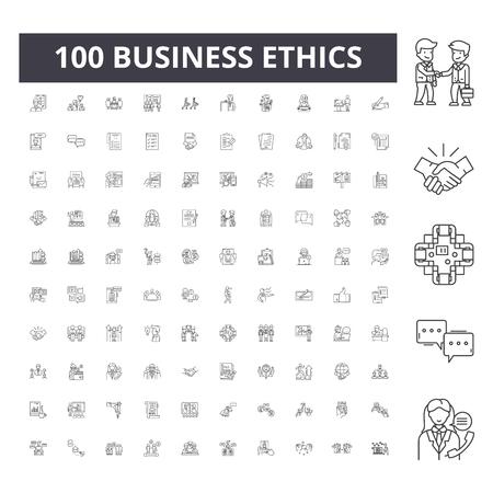 Icônes de ligne d'éthique des affaires, signes, ensemble de vecteurs, illustration de concept de contour