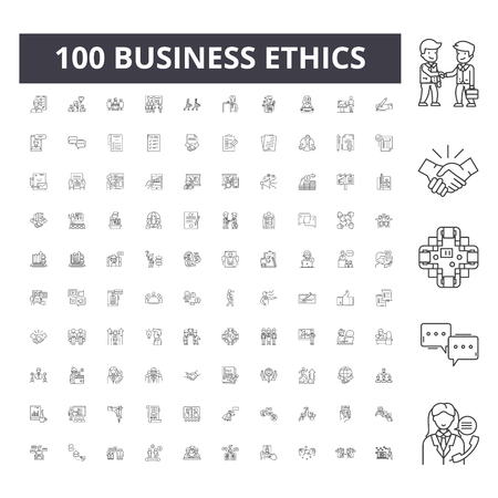 Business ethics line icons, signs, vector set, outline concept illustration