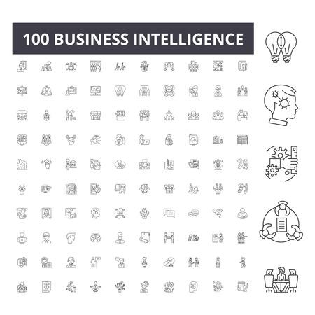 Business intelligence line icons, signs, vector set, outline concept illustration Illustration