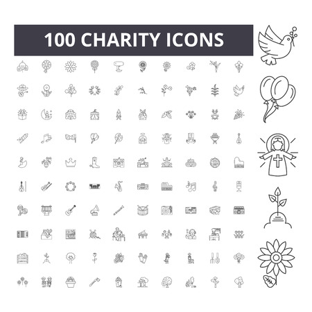 Charity line icons, signs, vector set, outline concept illustration