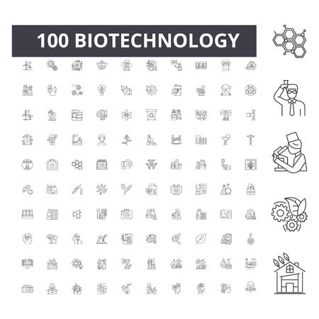 Biotechnology line icons, signs, vector set, outline concept illustration Illustration