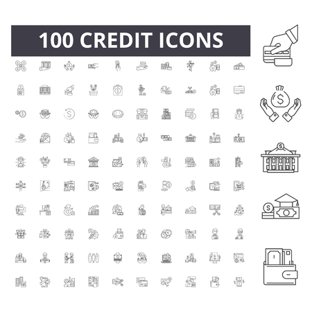 Icônes de ligne de crédit, signes, ensemble de vecteurs, illustration de concept de contour Vecteurs