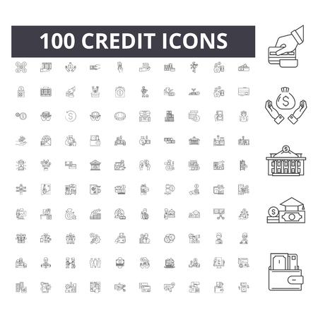 Icone della linea di credito, segni, set di vettori, illustrazione del concetto di contorno Vettoriali