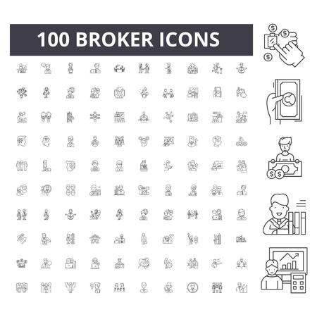 Broker line icons, signs, vector set, outline concept illustration