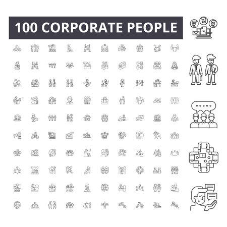 Corporate people line icons, signs, vector set, outline concept illustration