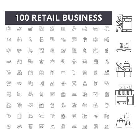 Iconos de línea de negocio minorista, signos, conjunto de vectores, ilustración del concepto de esquema