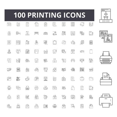 Icone della linea di stampa, segni, set di vettori, illustrazione del concetto di contorno