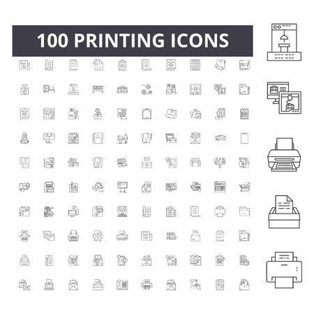 Printing line icons, signs, vector set, outline concept illustration