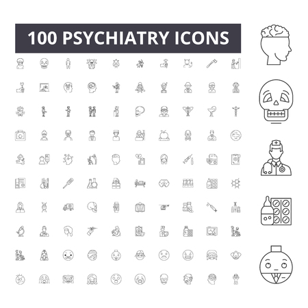 Psychiatry line icons, signs, vector set, outline concept illustration Illustration