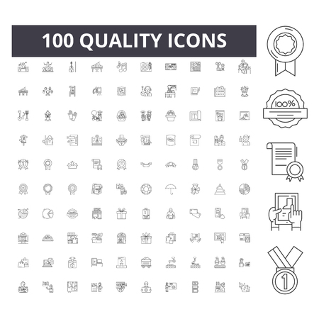 Icone della linea di qualità, segni, set di vettori, illustrazione del concetto di contorno