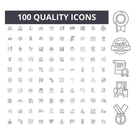 Ikony linii jakości, znaki, wektor zestaw, ilustracja koncepcja konspektu