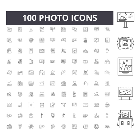 Photo line icons, signs, vector set, outline concept illustration