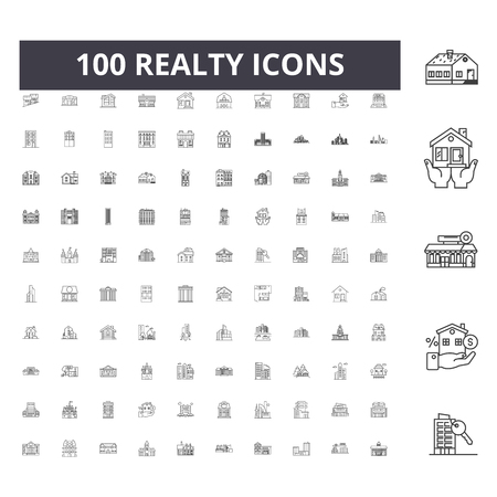 Realty line icons, signs, vector set, outline concept illustration Illustration