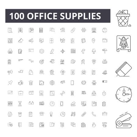 Icônes de ligne de fournitures de bureau, signes, ensemble de vecteurs, illustration de concept de contour Vecteurs