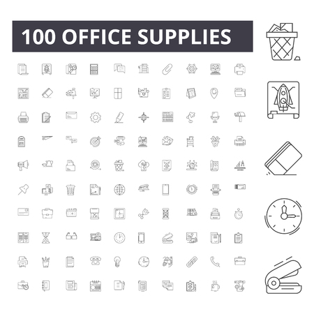 Office supplies line icons, signs, vector set, outline concept illustration Vetores