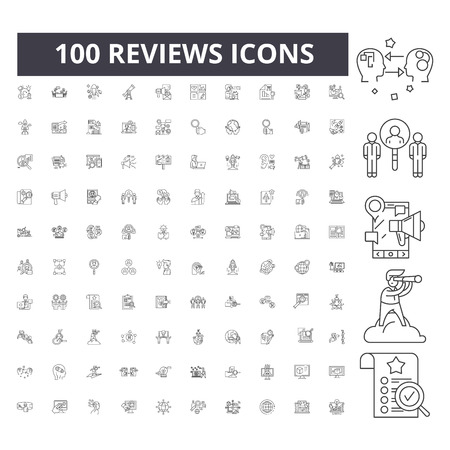 Reviews line icons, signs, vector set, outline concept illustration