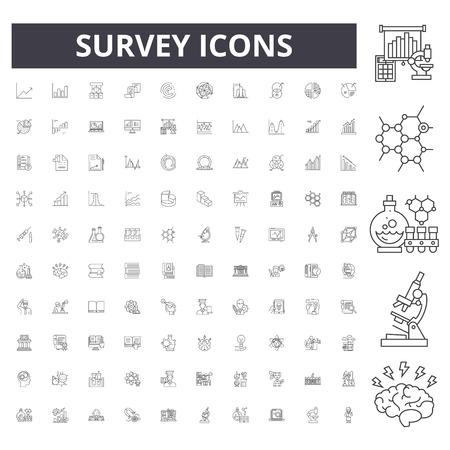 Survey line icons, signs, vector set, outline concept illustration Illustration