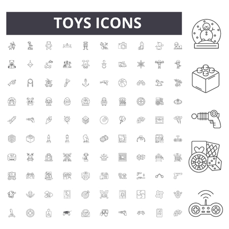 Toys line icons, signs, vector set, outline concept illustration