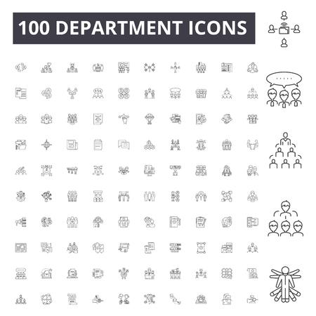 Department line icons, signs, vector set, outline concept illustration Illustration