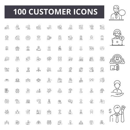 Icônes de ligne client, signes, ensemble de vecteurs, illustration de concept de contour