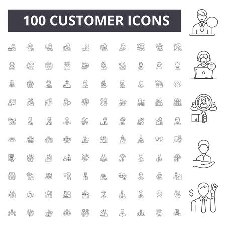 Icone della linea cliente, segni, set di vettori, illustrazione del concetto di contorno