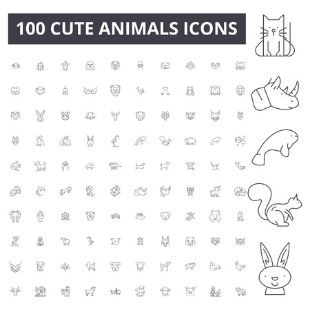 Cute animals line icons, signs, vector set, outline concept illustration