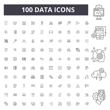 Data line icons, signs, vector set, outline concept illustration