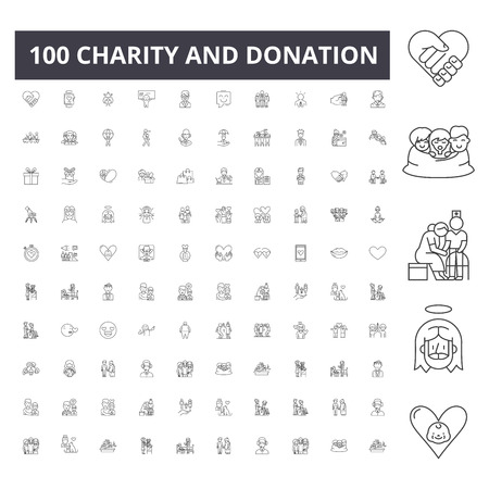 Charity and donation line icons, signs, vector set, outline concept illustration