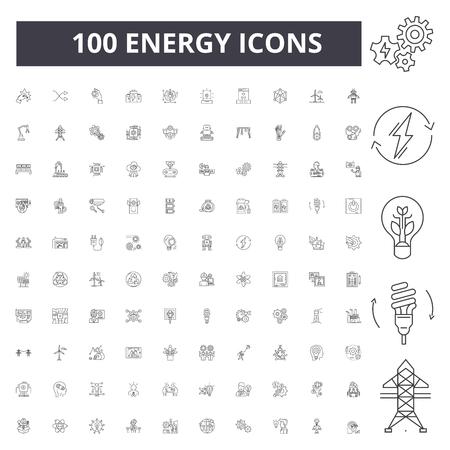 Icone della linea di energia, segni, set di vettore, illustrazione del concetto di contorno