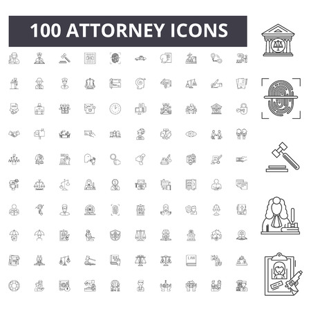 Attorney line icons, signs, vector set, outline concept illustration Illustration