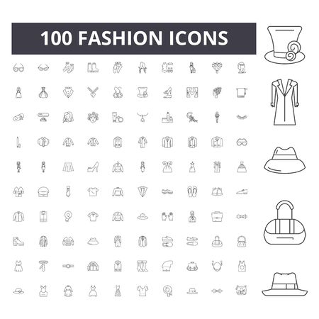 Fashion line icons, signs, vector set, outline concept illustration 向量圖像