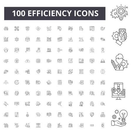 Efficiency line icons, signs, vector set, outline concept illustration