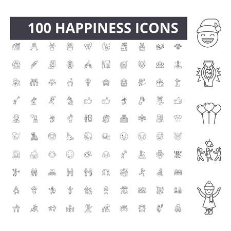Icônes de ligne de bonheur, signes, ensemble de vecteurs, illustration de concept de contour