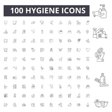 Hygiene line icons, signs, vector set, outline concept illustration