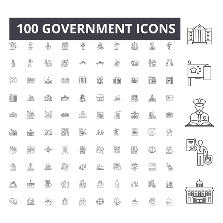 Government line icons, signs, vector set, outline concept illustration