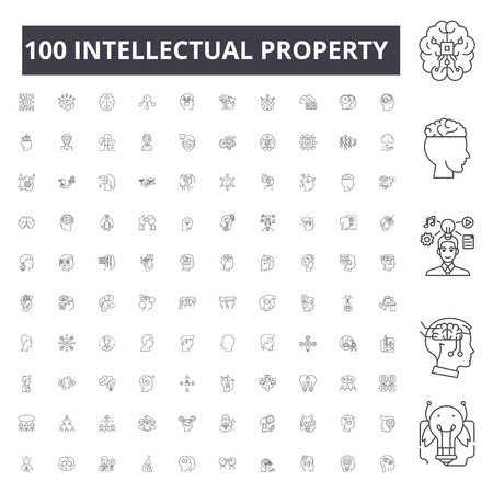 Intellectual property line icons, signs, vector set, outline concept illustration  イラスト・ベクター素材