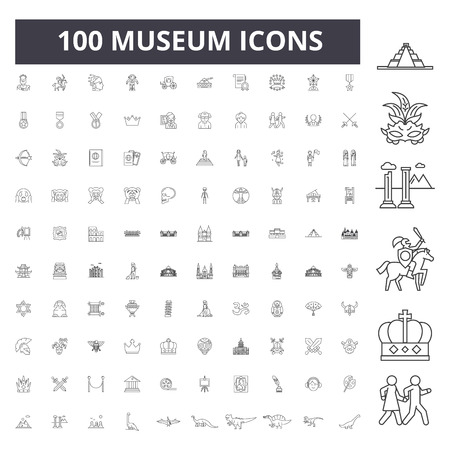 Museum line icons, signs, vector set, outline concept illustration