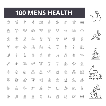 Mens health line icons, signs, vector set, outline concept illustration Ilustração