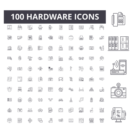 Hardware line icons, signs, vector set, outline concept illustration