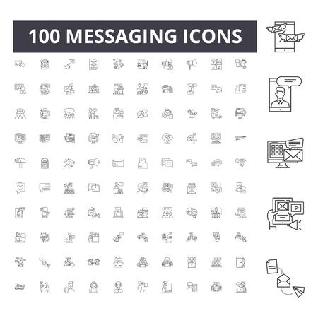 Messaging line icons, signs, vector set, outline concept illustration