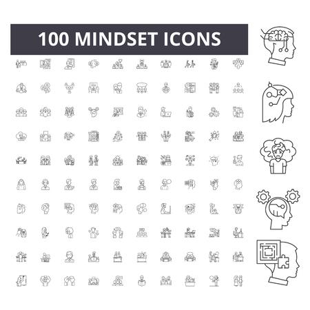 Iconos de línea de mentalidad, signos, conjunto de vectores, ilustración del concepto de esquema Ilustración de vector