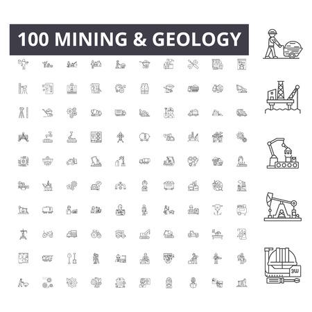 Iconos de línea minera, signos, conjunto de vectores, ilustración del concepto de esquema