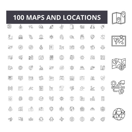 Maps and locations line icons, signs, vector set, outline concept illustration