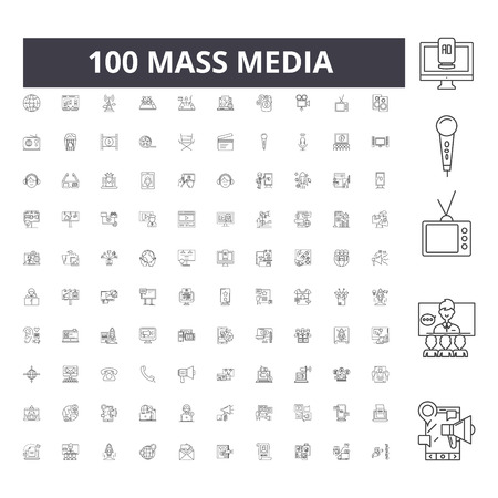 Mass media line icons, signs, vector set, outline concept illustration
