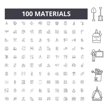 Materials line icons, signs, vector set, outline concept illustration  イラスト・ベクター素材
