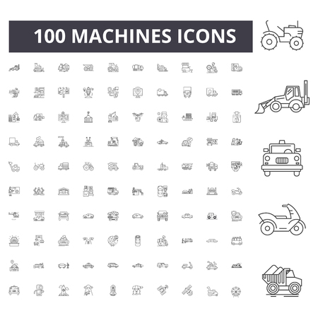 Machines line icons, signs, vector set, outline concept illustration